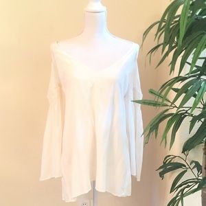 New Cute Boohoo White Cold Shoulder Dress or Top